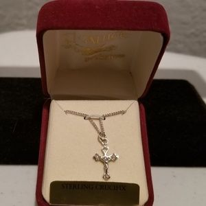 """17"""" Sterling Silver Crucifix Necklace"""